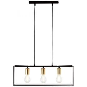 Brilliant Arica hanglamp 3-lichts zwart/messing E27 modern