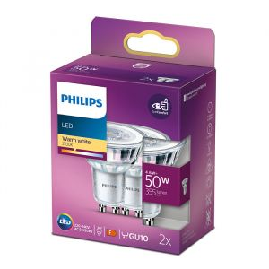 2x Philips GU10 spot 4.6W Warmwit 36°