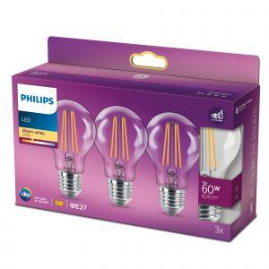 3x Philips E27 Peerlamp 7W Warmwit