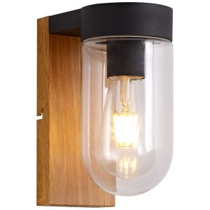 Brilliant Cabar houten wandlamp buiten donker hout/zwart